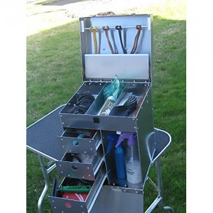Large Delux Aluminum Ringside Dog Show Tack Box w/ Leash Bar Two Easy Roll-Out Drawers and Three Part Tray