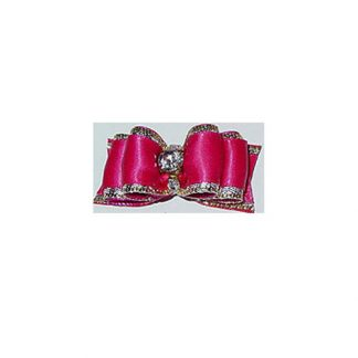 #1 - 7/8th Hot Pink w/ Silver Trim & Round Stone