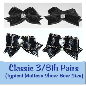 Dog Show Bows 3/8 Pairs (typical Maltese Show Bow Size)